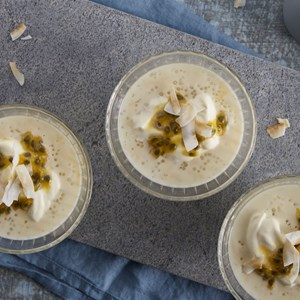 Coconut Sago Pudding with Passionfruit