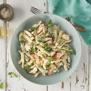 Salmon and Pea Casarecce Pasta