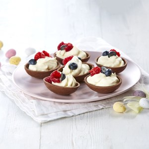 Chocolate Easter Egg Cups with Cream & Berries