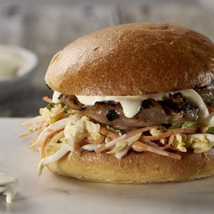 Spicy Chicken Burgers with Cabbage Slaw