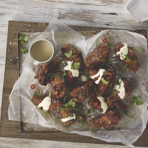 Spiced Fried Chicken with Lemon Sour Cream