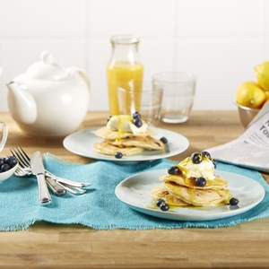 Coconut & Blueberry Pancakes with Creme Fraiche & Orange Syrup